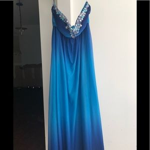 NWOT Deb Floor Length Evening Dress sea blue 16W